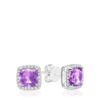 Cushion Cut Amethyst & Diamond Halo Earrings
