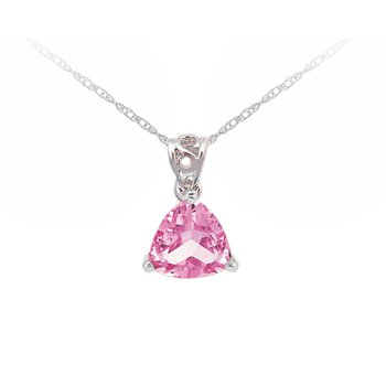 Created Pink Sapphire Pendant