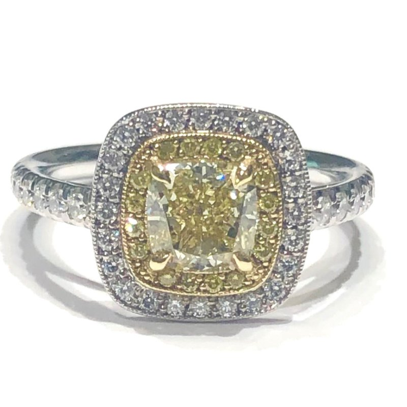 The Collection Halo Yellow Diamond Engagement Ring