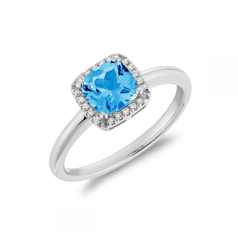 RNB Bijoux Jewellery Cushion Cut Blue Topaz & Diamond Halo Ring