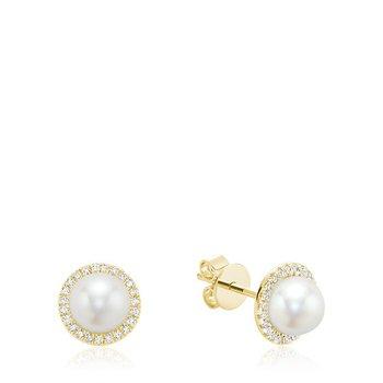 Cultured Freshwater Pearl & Diamond Halo Stud Earrings