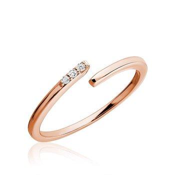 Three Stone Bypass Fashion Ring