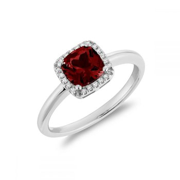 Cushion Cut Garnet & Diamond Halo Ring