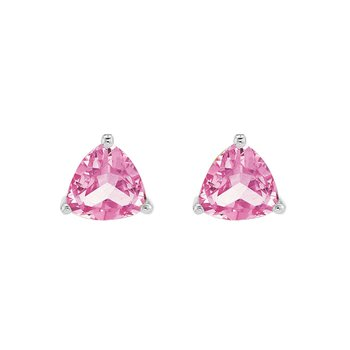 Created Pink Sapphire Studs