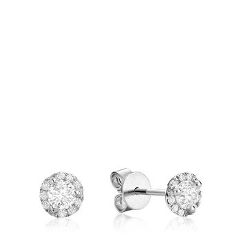 Martini Cup Diamond Halo Stud Earrings
