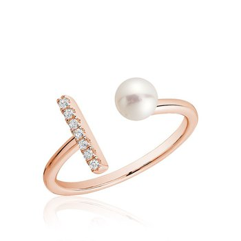 Open Pearl Ring with Diamonds