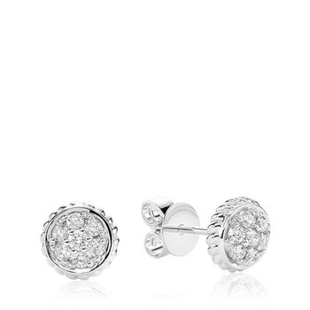 Round Rope Diamond Stud Earrings