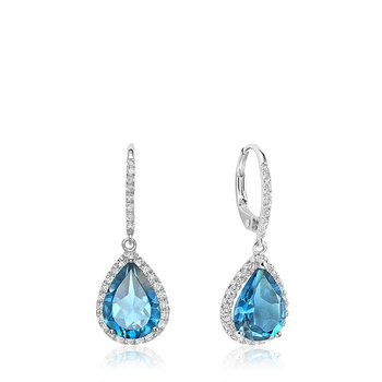 Teardrop Blue Topaz & Diamond Dangle Earrings