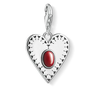 Charm Pendant Heart Red Stone