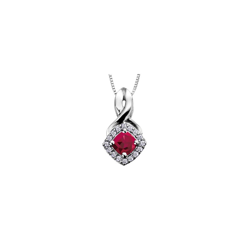 The Collection Ruby and Diamond Halo Pendant