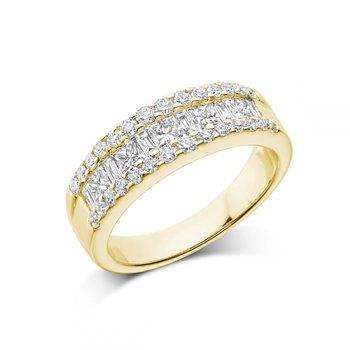 Wide Channel Set Princess Cut Diamond Wedding Band