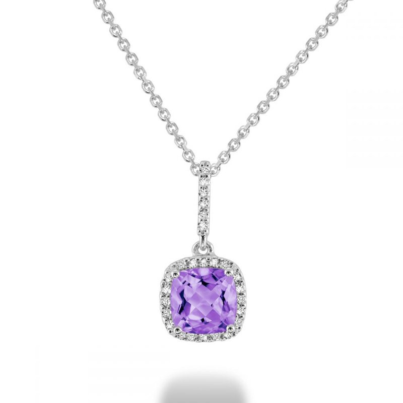 RNB Bijoux Jewellery Cushion Cut Amethyst & Diamond Halo Pendant