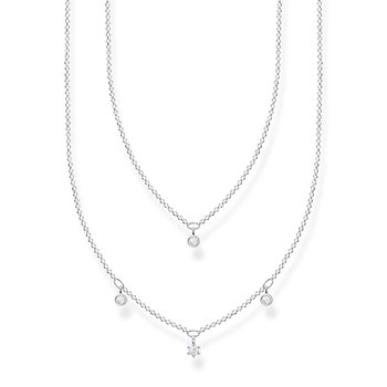 Necklace Double White Stones Silver