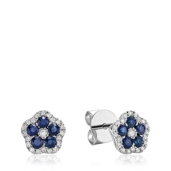 Hollow Flower Blue Sapphire & Diamond Stud Earrings