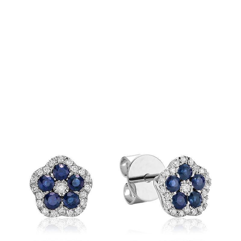 RNB Bijoux Jewellery Hollow Flower Blue Sapphire & Diamond Stud Earrings