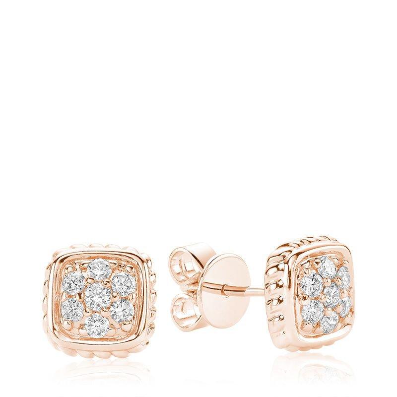 RNB Bijoux Jewellery Square Rope Diamond Stud Earrings