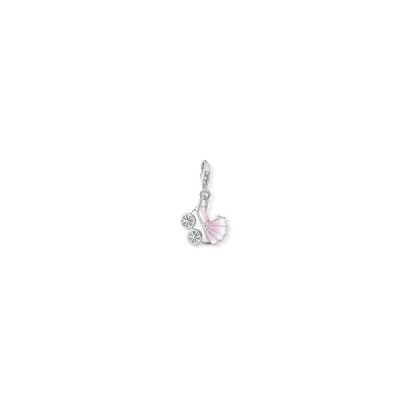 Thomas Sabo Stroller Charm With Pink Enamel And Clear Zirconia