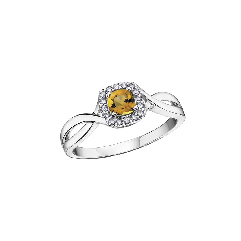 The Collection Citrine and Diamond Halo Ring