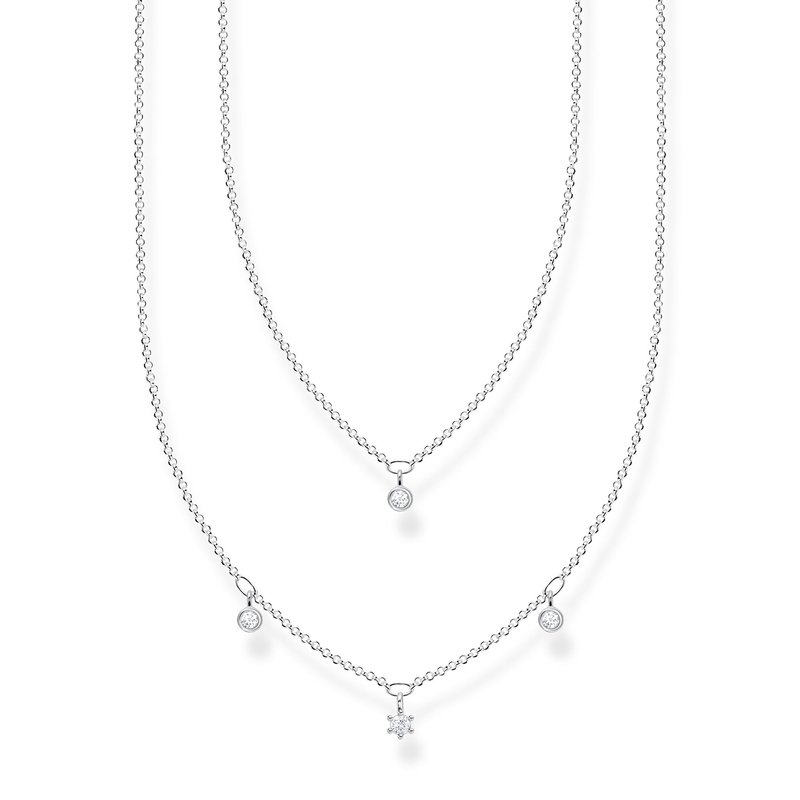 Thomas Sabo Necklace Double White Stones Silver