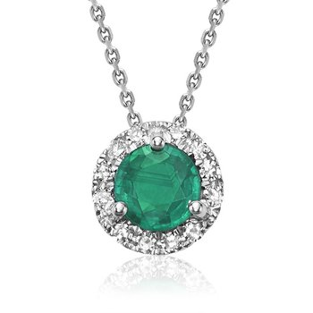 Emerald & Diamond Halo Pendant