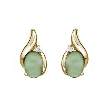 Jade And Diamond Stud Earrings
