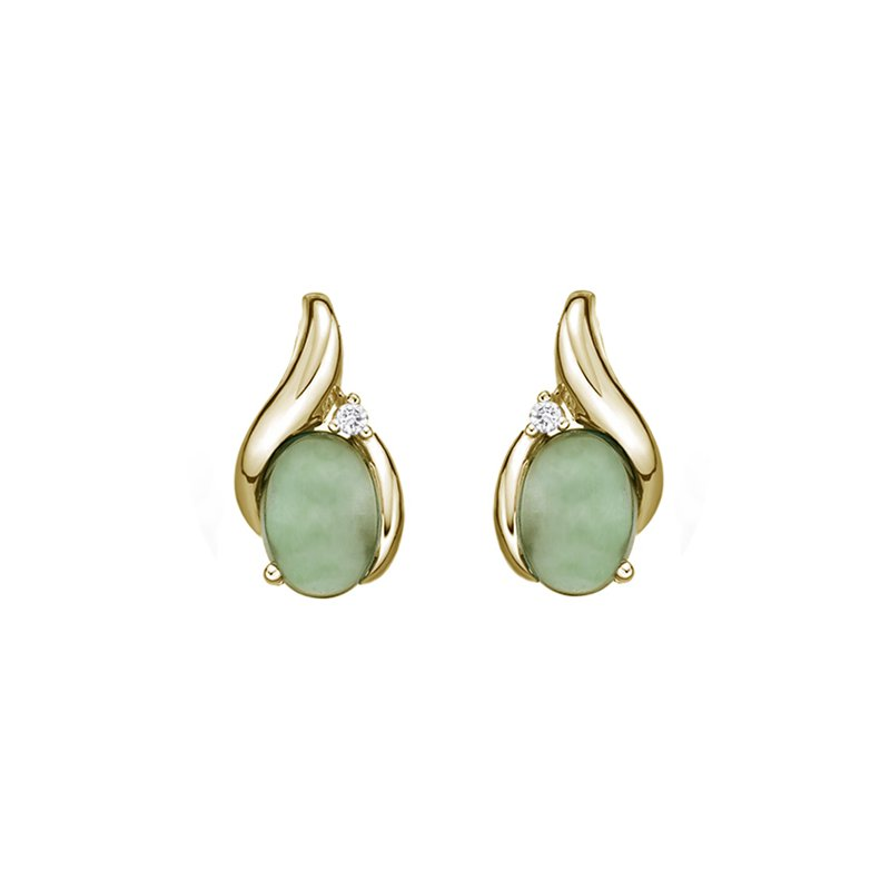 The Collection Jade And Diamond Stud Earrings