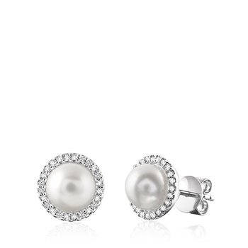Cultured Freshwater Pearl & Diamond Halo Stud Earrings