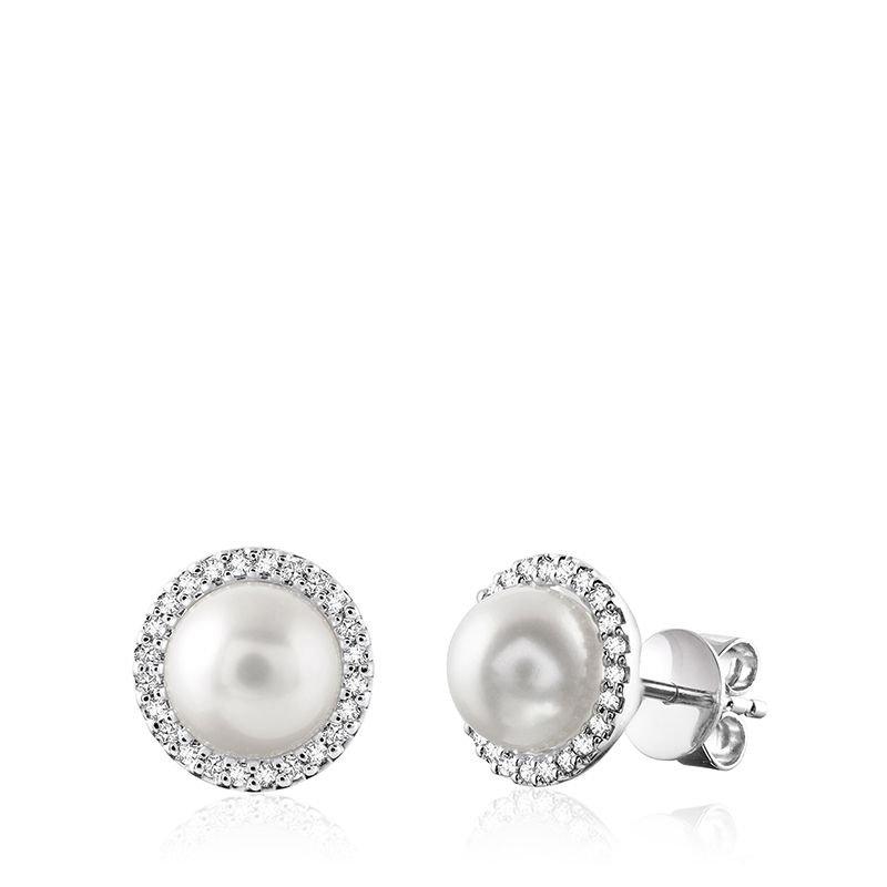 RNB Bijoux Jewellery Cultured Freshwater Pearl & Diamond Halo Stud Earrings