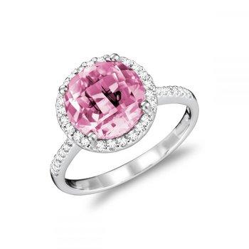Round Pink Quartz & Diamond Halo Ring