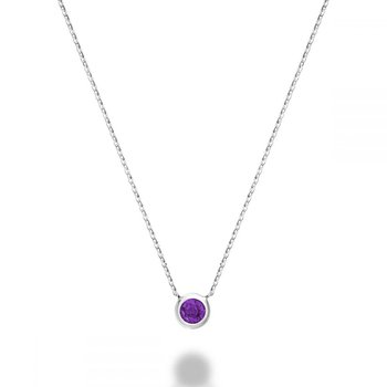 Bezel Set Amethyst Necklace