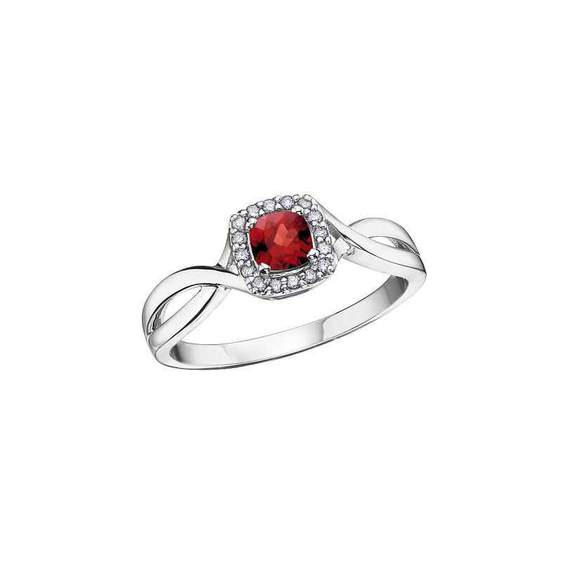 The Collection Garnet and Diamond Halo Ring
