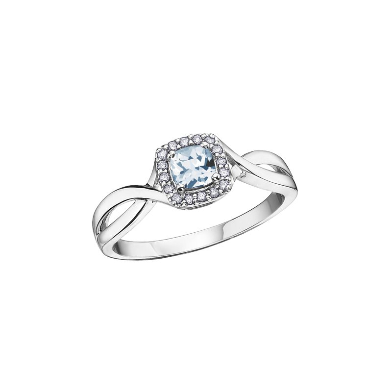 The Collection Aquamarine and Diamond Halo Ring