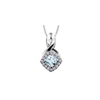 Aquamarine and Diamond Halo Pendant