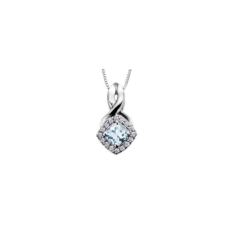 The Collection Aquamarine and Diamond Halo Pendant