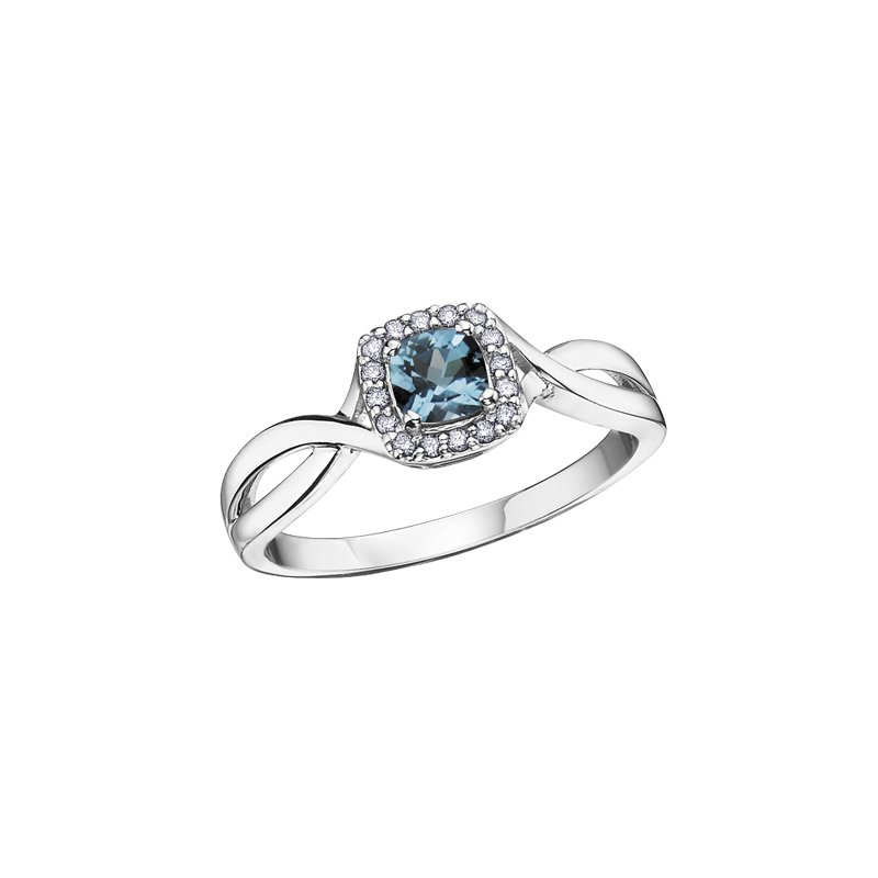The Collection Blue Topaz and Diamond Halo Ring