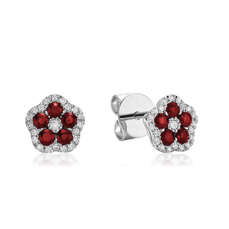 RNB Bijoux Jewellery Ruby Flower Earrings