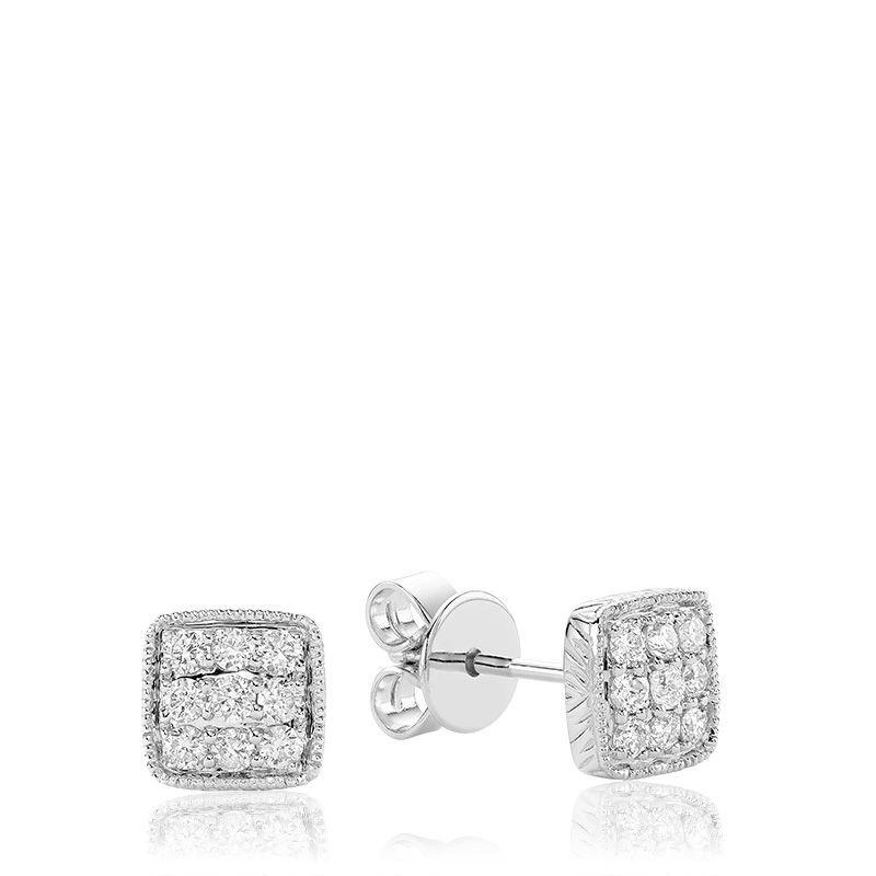 RNB Bijoux Jewellery Square Milgrain Diamond Stud Earrings