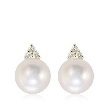 Cultured Freshwater Pearl & Diamond Stud Earrings
