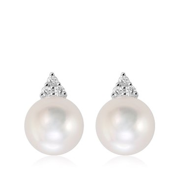 Cultured Freshwater Pearl & Diamond Stud Earrings