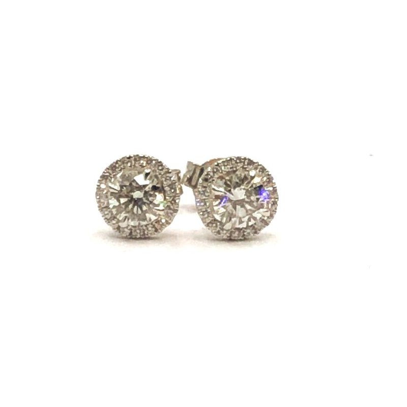 The Collection Halo Diamond Stud Earrings
