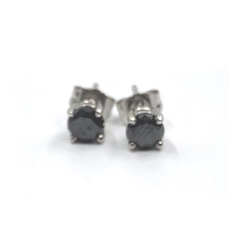 The Collection Black Diamond Stud Earrings