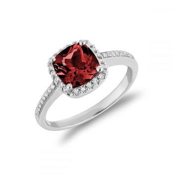 Cushion Cut Garnet & Diamond Halo Ring