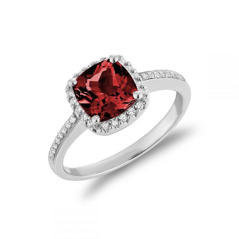 RNB Bijoux Jewellery Cushion Cut Garnet & Diamond Halo Ring