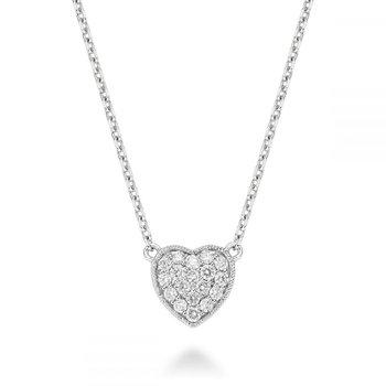 Heart Diamond Milgrain Necklace