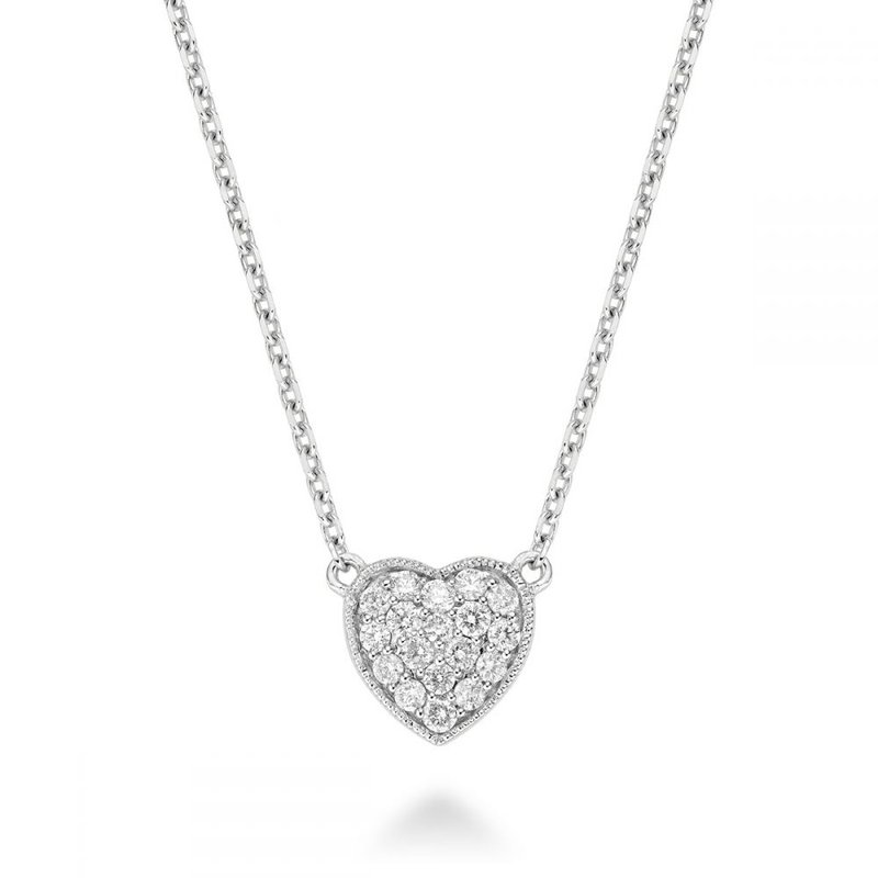 RNB Bijoux Jewellery Heart Diamond Milgrain Necklace