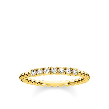 Ring Dots With White Stones Gold
