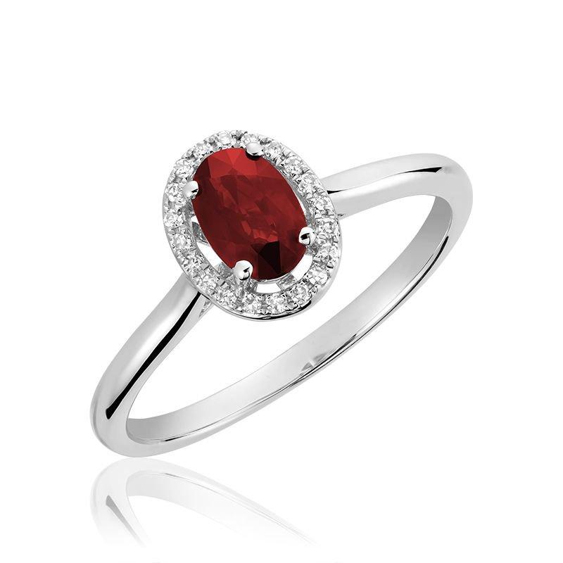 RNB Bijoux Jewellery Oval Ruby & Diamond Halo Ring