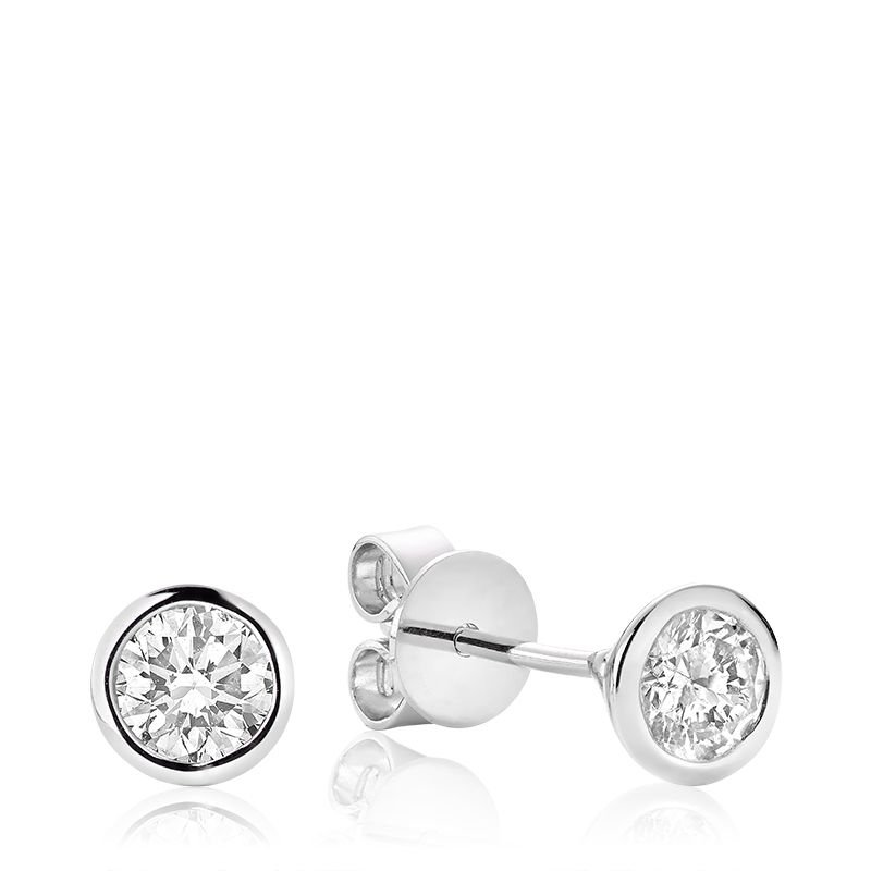 RNB Bijoux Jewellery Bezel & Diamond Stud Earrings