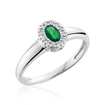 Oval Emerald & Diamond Halo Ring