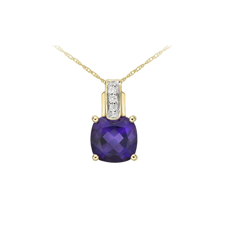 The Collection Amethyst And Diamond Pendant